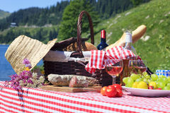 Alpine picnic. Picnic in french alpine mountains Royalty Free Stock Photography
