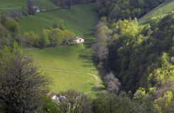 Alpine picturesque village high Stock Images