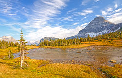 Alpine Pond on a Fall Day on a Mountain Pass Stock Image