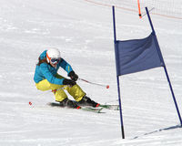 Alpine racing in the Alps. Young racer during race training in Solden, Austria stock images