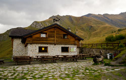 Alpine refuge hut Stock Images