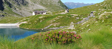 Alpine refuge on the lake Royalty Free Stock Image