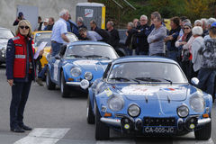 Alpine Renault at the start Stock Photo
