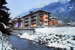 Alpine Resort, Chamonix, France,. Winter saison in Chamonix, Alps, Mont Blanc Stock Photography