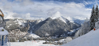 Alpine resort panorama Stock Photo
