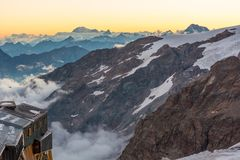 Alpine resort at sunset. Stock Image