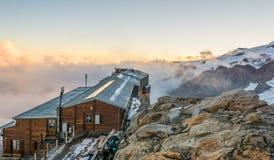Alpine resort at sunset. Royalty Free Stock Photo