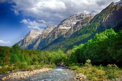 Alpine rill and mountaine forest in the National Park of Ordesa. Spanish National Park of Ordesa in the Pyrenees in a zone of rills and runlets between cliffs Royalty Free Stock Photo