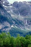 Alpine rill and mountaine forest in the National Park of Ordesa. Spanish National Park of Ordesa in the Pyrenees in a zone of rills and runlets between cliffs Stock Image