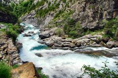 Alpine rills in teh Spanish Pyrenees. Mountains and alpine river in the Ordesa National Park in the Spanish Pyrenees stock photography