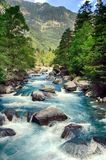 Alpine rills in teh Spanish Pyrenees. Mountains and alpine river in the Ordesa National Park in the Spanish Pyrenees stock image