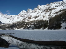 Alpine River on the Highland. Thaw on Spring Royalty Free Stock Image