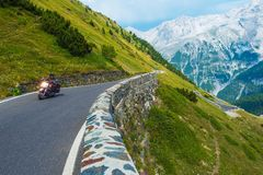 Alpine Road Biker Royalty Free Stock Images
