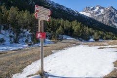 Alpine road signs Stock Photos