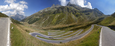 Alpine road with tight serpentines on Splugenpass, Switzerland Stock Photo