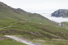 Alpine Road towards Col du Tourmalet Royalty Free Stock Photo