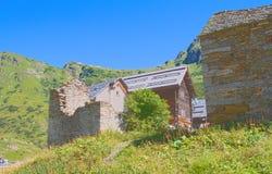 Alpine ruins. Glimpse of riale location,formazza valley,piedmont Royalty Free Stock Photos
