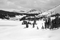 Alpine scene with snow capped mountains Stock Photos