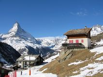 Alpine scenery. The Matterhorn summit in the Alps stock images