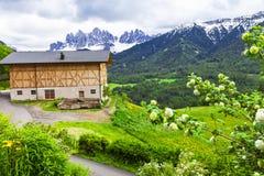 Alpine scenery - farmhouses in  Dolomites Stock Images