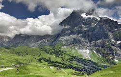 Alpine mountain landscape with beautiful sky, Grindelwald - Switzerland Stock Image