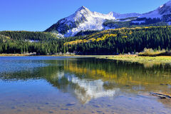 Alpine scenery of yellow and green aspen, snow covered mountains and reflection in the lake during foliage season. Landscape view of the colorful alpine scenery Stock Image