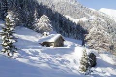 Alpine schneebedeckte Hütte Lizenzfreie Stockfotos