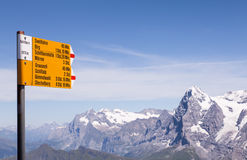 Alpine signpost Stock Photos