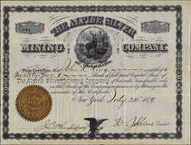 1879 The Alpine Silver Mining Company Stock Certificate Stock Image