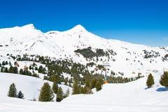 Alpine ski facility in Swiss Alps Stock Photo