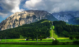 Alpine Ski Jump. Spa and ski resort in the Austrian alps Royalty Free Stock Photography