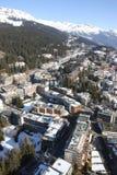 Alpine ski resort. Aerial view of an alpine ski resort (Crans-Montana, Switzerland royalty free stock images
