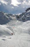 Alpine ski slope. Ski slope in the Swiss Alps stock images