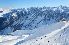 Alpine ski slope in winter Pyrenees. Royalty Free Stock Images