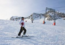 Alpine skier. Ski resort of Kaprun, Royalty Free Stock Images