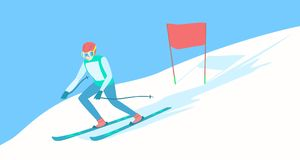 Alpine skier on the ski track. Alpine Skiing or downhill skiing - Men Slalom. Alpine skier on the ski track. Descent from the mountain. Vector illustration EPS Stock Image