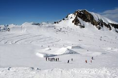 Alpine skiers landscape Royalty Free Stock Image