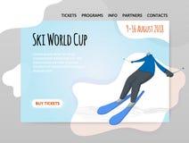Alpine skiing, ανταγωνισμός Διανυσματικό illutration στο αφηρημένο επίπεδο ύφος, πρότυπο σχεδίου της επιγραφής αθλητικών περιοχών Διανυσματική απεικόνιση