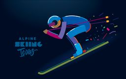 alpine skiing Τυποποιημένος σκιέρ Στοκ φωτογραφία με δικαίωμα ελεύθερης χρήσης