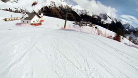 Alpine skiing with the action cam on the helmet. Stock Images