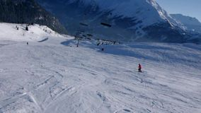 Alpine skiing in Alps stock video footage