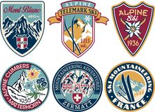 Free Alpine Skiing And Mountaineering Patches Collection Stock Photos - 128519733