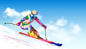 Alpine skiing athlete. Colorful figure-silhouette of a skier on skis. Athlete skier against the sky and the sun. The athlete on mountain skiing is active vector illustration