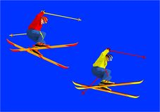 Alpine Skiing-background-illustrations. Alpine Skiing,Painted in blue background Stock Image