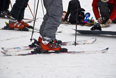 Alpine skiing equipment. Royalty Free Stock Images