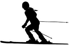 Alpine skiing female athlete. Downhill black silhouette Royalty Free Stock Photography