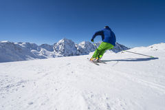 Alpine skiing in high altitude. Alpine downhill skiing in solda ortles Italy Stock Photography