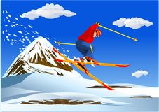 Alpine Skiing-illustrations Stock Photo