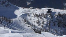 Alpine skiing resort, aerial stock footage