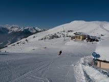 Alpine skiing resort. One of the largest ski resorts in Alps - Saalbach, Hinterglemm, Leogang (Austria Stock Photography